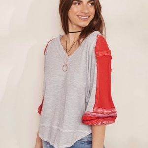 FREE PEOPLE | Embroidered Bubble Sleeve Top